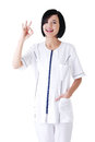Young female doctor or nurse gesturing perfect Stock Photos