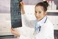 Young female doctor in office Royalty Free Stock Image