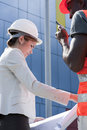 Young female engineer on construction site Royalty Free Stock Photos