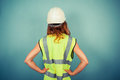 Young female engineer in high vis and hardhat Royalty Free Stock Photo