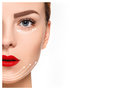 The young female face antiaging and thread lifting concept with clean fresh skin Royalty Free Stock Image