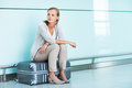 Young, female frustrated passenger at the airport Royalty Free Stock Photo