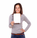 Young female holding card smiling at you portrait of a copyspace Stock Photos