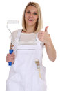 Young female house painter and decorator woman job thumbs up iso Royalty Free Stock Photo