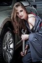 Young female mechanic Royalty Free Stock Photo
