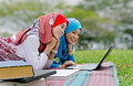 Young female muslim students Stock Photos