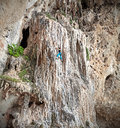 Young female rock climber on incredible wall railay beach in thailand Royalty Free Stock Photography
