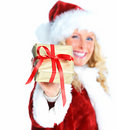 Young female Santa showing  a Christmas gift Stock Photography