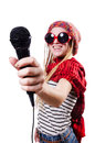Young female singer with mic on white Stock Photos
