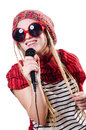 Young female singer with mic on white Stock Image