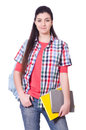 Young female student isolated on the white Royalty Free Stock Image