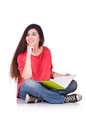 Young female student isolated on the white Royalty Free Stock Photography