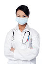 Young female surgeon wearing face mask Royalty Free Stock Photos