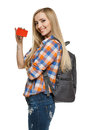 Young female tourist showing credit card Stock Photos
