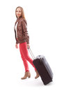 Young female with the travel bag isolated woman on white background Stock Photo