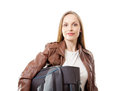 Young female with the travel bag isolated woman on white background Royalty Free Stock Photo