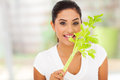 Young female vegetarian biting celery s leaves Stock Photography