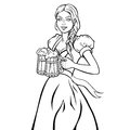 Young female waitress in Bavarian costume dress, holding beer mugs. Isolated, lined, vector illustration.