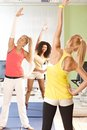 Young females exercising at the gym smiling Stock Photos