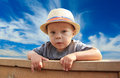 Young fence boy Royalty Free Stock Photo