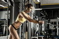 Young fitness woman execute exercise with exercise machine cable crossover in gym horizontal photo Royalty Free Stock Image