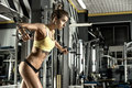 Young fitness woman execute exercise with exercise machine cable crossover in gym horizontal photo Royalty Free Stock Photos