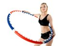 Young fitness woman with hula hoop isolated sporty girl doing exercise on white Stock Photo