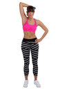 Young fitness woman at sports workout training triceps with dumb dumbbell isolated on a white background Royalty Free Stock Image