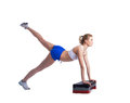 Young fitness woman with stepper Stock Image