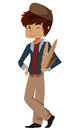 Young french cartoon person image of a frenchman holding a few baguettes Royalty Free Stock Photo