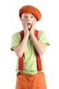 Young frightened boy scared holds himself for face Royalty Free Stock Photography