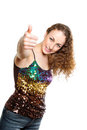 Young frizzy woman with thumb up Stock Photography