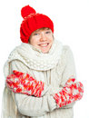 Young frozen teenager in winter style Stock Images