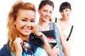 Young funny only female students Royalty Free Stock Photos