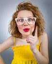 Young funny woman have idea clever girl Royalty Free Stock Photo