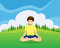 A young gentleman at the hilltop doing yoga illustration of Royalty Free Stock Photos