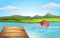 A young gentleman swimming at the beach illustration of Royalty Free Stock Images