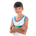 Young girl in athletic attire iv over white background Royalty Free Stock Photography