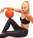 Young girl with basketball Royalty Free Stock Images
