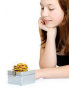 Young girl with beautiful gift box Stock Image