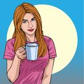 Coffee morning A beautiful woman drinking coffee Illustration vector On pop art comic style Colorful soft background Royalty Free Stock Photo