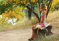A young girl on a bench and a cat Stock Images