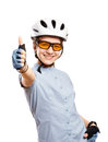 Young girl in a bicycle helmet shows gesture OK,  isolated on white. Royalty Free Stock Photo