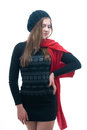 Young girl in black dress, beret and scarf Royalty Free Stock Photo