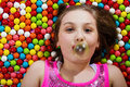 Young girl blowing gum bubble Stock Photo