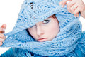 Young girl in blue scarf Royalty Free Stock Photo
