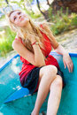 Young girl in the boat Stock Photo