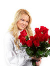 Young girl with a bouquet of roses Royalty Free Stock Photos