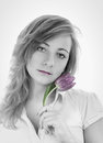Young girl with a bouquet of tulips monochrome portrait Stock Photo