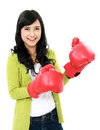 Young girl with boxing glove Royalty Free Stock Image